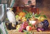 Puzzle 3000 - Copy of Still Life With Fruit and a Cockatoo, Jozef Schuster